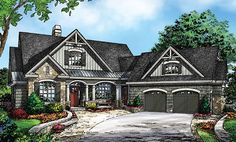Charming Craftsman Cottage with Angled Garage: Awesome Mix of Traditional Style & Modern Details. http://houseplansblog.dongardner.com/charming-craftsman-cottage-angled-garage/ #House #Plans #Blog
