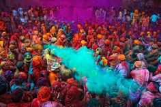 Holi Festival, primarily in India and Nepal   The spring festival of colors and love is an ancient Hindu religious festival that starts with a bonfire, and proceeds into a color-carnival. Participants are showered with powdered paint, paint-filled water guns, and paint-filled water balloons.