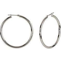 Stainless Steel Hoop Earrings 3mm x 40mm