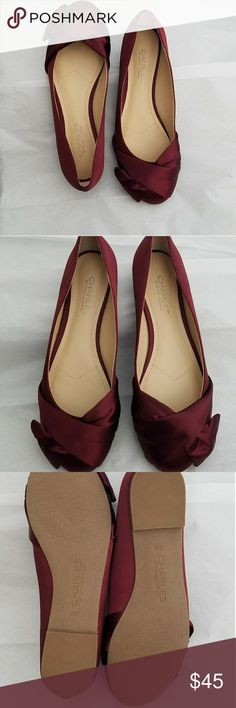 Charles David Stunning Satin Red flats Absolutely stunning and Perfect for the Holidays! Stunning NWOT Dark Red Satin Flats. Charles David Shoes Flats & Loafers