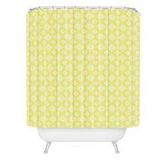 Caroline Okun Yellow Spirals Shower Curtain | DENY Designs Home Accessories