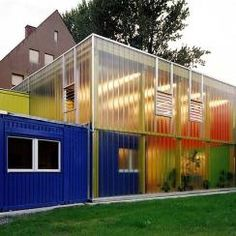 """bed by night"" refuge for homeless children, Hannover, Germany - Professor Han Slawik Architekten Container Home Designs, Container Cabin, Storage Container Homes, Cargo Container, Container Houses, Container Architecture, Container Buildings, Architecture Design, Used Shipping Containers"