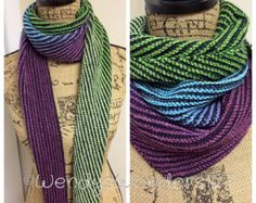 Articles similaires à Americana Knit Scarf - Multicolored and Multiyarn Hand Knit Scarf - Made to Order sur Etsy