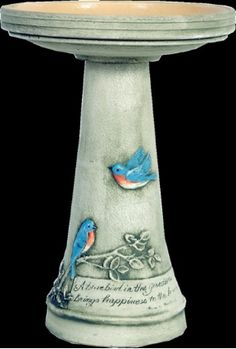 Hand Painted Bird Bath W Locking Top A Bluebird In The Garden Brings Hiness