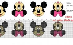 Cross stitch children baby border with Disney Mickey and Minnie Mouse faces 34 stitches