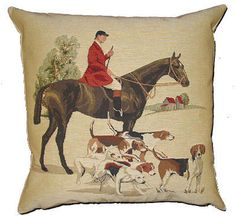 Huntsmen Fox Hounds Hunting Dogs Woven Belgian Tapestry from England