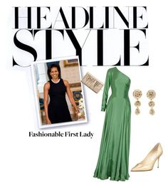 """""""Fashionable First Lady"""" by patiporte ❤ liked on Polyvore featuring Jimmy Choo, Ralph Lauren Collection, Christian Dior, pointed-toe pumps, satin, gown, classic, clutches and diamond earrings"""