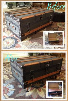 DIY Antique Trunk Coffee Table