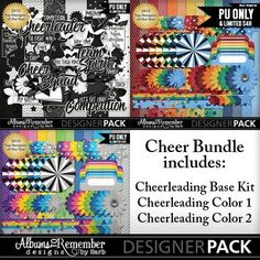 Cheerleading bundle digital scrapbook kit. Mix and match to get the perfect blend for your team colors. By Albums to Remember Designs