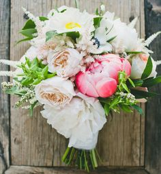 Romantic bouquet with peonies, poppies, anemones + roses by Honey and Poppies