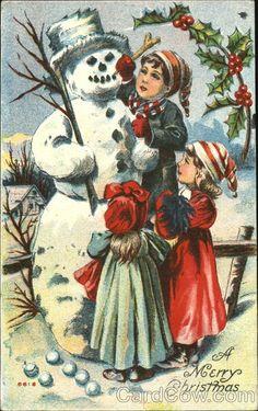 Children Around Snowman Snowmen