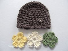 Toddler Crochet Hat with Interchangeable Flowers, COLOR of your CHOICE, Baby/Toddler Girl - 12 Months and Up