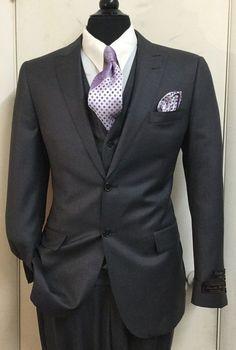 Tiglio Lux Mens Suits, charcoal grey suit, 3 piece suit, menswear #menssuitscharcoal