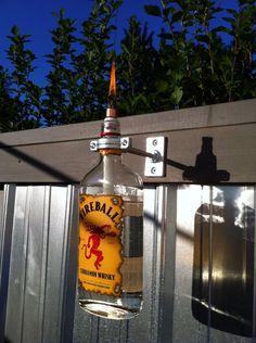 Repurposed Fireball Whisky Bottle Tiki Torch on Etsy, $15.00