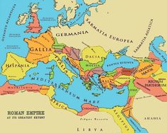 Map of The Roman Empire During New Testament Times. The map shows the Roman Empire during its greatest extent during the time of the Emperor Trajan in 116 AD. He pushed to the Persian Gulf and even Susa wishing to exceed Alexander's empire. Roman History, European History, World History, European People, European Map, History Online, American History, Ancient Rome, Ancient History