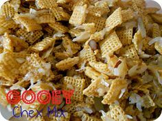 Gooey Almond and Coconut Chex Mix - this is one of my favorite treats of all time. SixSistersStuff.com