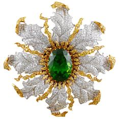 Buccellati Diamond and Peridot Brooch (=)