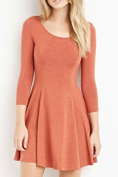 3/4 Sleeve Solid Color Swing Dress