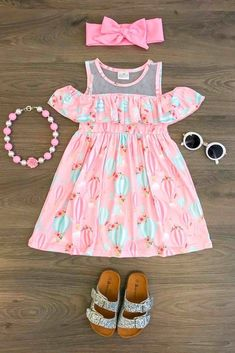 Pink Hot Air Balloon Off Shoulder Dress African Dresses For Kids, Little Girl Outfits, Little Girl Dresses, Kids Outfits, Girls Dresses, Cute Outfits, Frocks For Girls, Kids Frocks, Baby Girl Dress Patterns