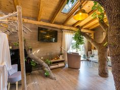 Atsipopoulo house rental - Entering the treehouse you will be amazed by the branches of the oak tree! Jacuzzi, Pergola, Villa, Around The Worlds, Outdoor Structures, Luxury, Travel, Treehouses, Oak Tree