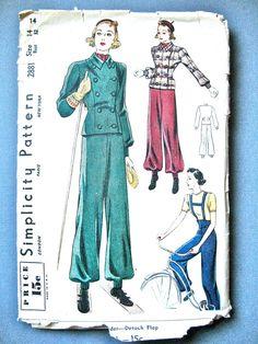 1930s Simplicity 2881 Vintage Misses' Ski-Suit Sewing by Fancywork