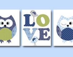 Baby Boy Canvas Nursery Art Owl Decor We Love You by SnoodleBugs