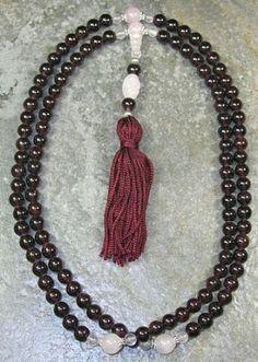 8mm Garnet & Rose Quartz Buddhist Mala Prayer Beads - 108 Beads $47.95