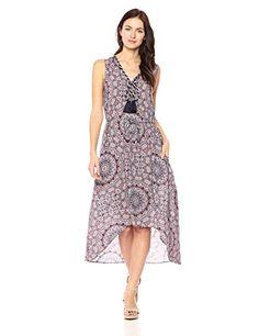 Ella Moon Women's Kaya Sleeveless Asymmetric Tassel Maxi Dress, Moroccan Tile Print, Large Work Wear Office, Summer Fashion Trends, Fashion 2016, Office Outfits, Asymmetrical Dress, V Neck Dress, Boho Fashion, Tassel, Summer Dresses