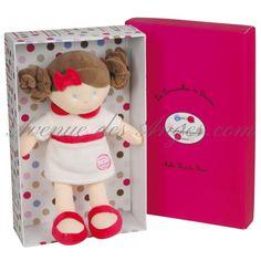 Grande #Poupée Mademoiselle Blanche rose: une magnifique poupée en chiffon de 32cm, un cadeau intemporel pour une petite fille.