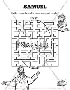 Samuel Bible Story Sunday School Crossword Puzzles: This