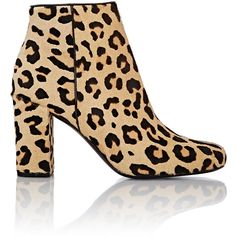 Saint Laurent Leopard-Print Babies Ankle Boots (1,975 CAD) ❤ liked on Polyvore featuring shoes, boots, ankle booties, ankle boots, brown, brown leather ankle booties, leather booties, leopard print booties, high heel ankle boots and high heel booties