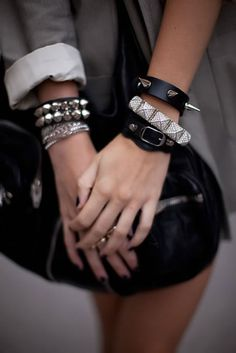 #bracelets #spikes #stacked