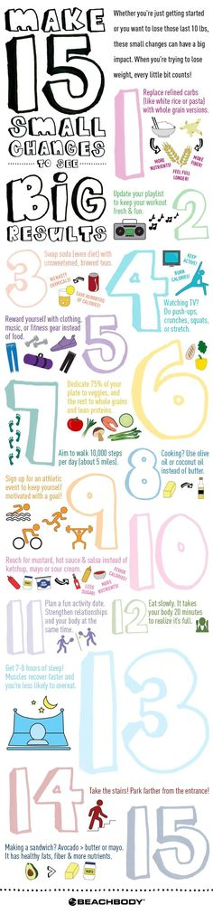Whether you're just getting started on your fitness journey or you're trying to lose those last few pounds, these little changes that can have a big impact on creating a healthier life. And they're simple to incorporate into your daily routine! // fitness // nutrition // weight loss // diet // tips // beginner // new year // changes // resolution // lose weight // eat healthy // Beachbody // http://BeachbodyBlog.com  @ReTweetNGro