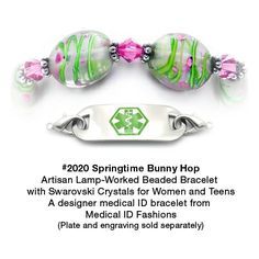 Medical ID Bracelet 2020 Springtime Bunny Hop from Medical ID Fashions and Designer Abbe Sennett