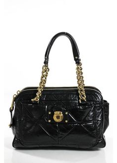 Marc Jacobs Black Leather Quilted Gold Tone Zipper Chain Baguette Handbag | eBay