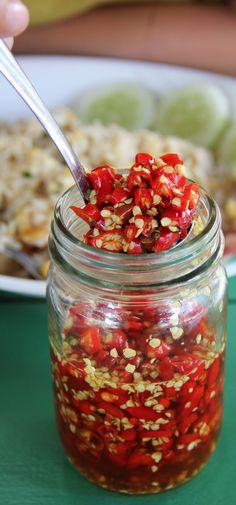 "Thailand's favorite condiment - ""prik nam pla (chillies in fish sauce)"" - http://eatingthaifood.com/"