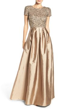 'Is it ok for the Mother-of-the-Bride or to wear a champagne color gown?' 1.Strapless Rene Ruiz Jacquard Gown 2. Sequin Lace Sheath Dress 3. ...