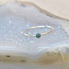 14k gold Blue Diamond Stacking Ring - Stackable Wedding Ring - Engagement Ring - Diamond Promise Ring - 14kt White or Yellow Gold Ring on Etsy, $197.00
