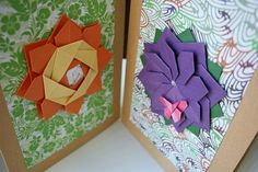 Origami Card.Handmade Card Sets.Birthday cards.Mother's Day Cards.Greeting Cards.Paper flower.Origami Cards.Origami Spring.Origami Flower.Set of 2 cards.