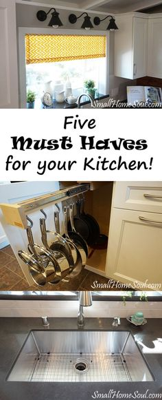 If you're planning or just dreaming of your dream kitchen you definitely want to see the list of my five favorite kitchen features we added to our kitchen. Small Kitchen Storage, Kitchen Organization, Diy Kitchen, Kitchen Decor, Kitchen Cabinets, Kitchen Ideas, Design My Kitchen, Barn Kitchen, Rooster Kitchen