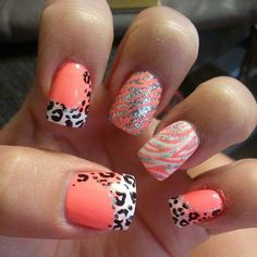 Orange leopard print nail art design | orange leopard nails
