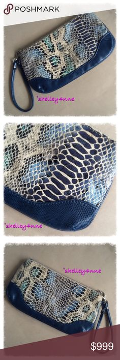 Caché Blue Faux Snakeskin Wristlet faux snakeskin in beautiful shades of blue Cache Bags Clutches & Wristlets