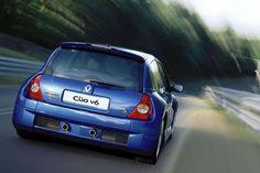 Clio V6 bleue arrière