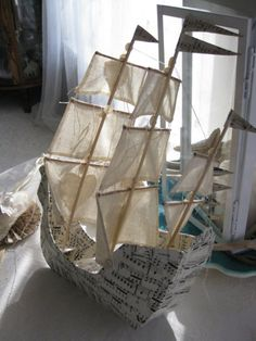 Sailing Ship with three masts Paper Mache handmade by VintageDiana