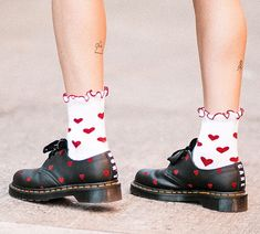 Love these dotty flats and ankle socks, preppy pop fashion Lizzie Hearts, Dr. Martens, Image Mode, Golden Shoes, Pumps, Sock Shoes, Me Too Shoes, Fashion Beauty, Pop Fashion