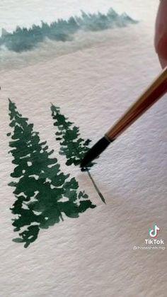 Watercolor Paintings For Beginners, Watercolor Art Lessons, Watercolor Trees, Watercolor Landscape, Pine Tree Painting, Art Painting Gallery, Art Drawings Sketches Simple, Diy Canvas Art, Watercolors