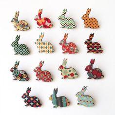 Patterned Bunny Brooch