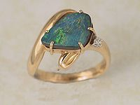 Solid Boulder Opal Ring