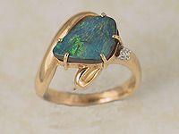 Solid Boulder Opal Ring