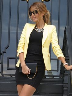 FRENCH CONNECTION BLACK DRESS  BCBG NECKLACE  LOVE MOSCHINO CLUTCH  OAKLEY SUNGLASSES  ZARA BLAZER